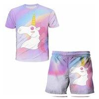 Ropa de unicornio para niños, traje de camiseta de dibujos animados de moda, ropa de verano para niños y niñas, Manga corta transpirable con cuello redondo
