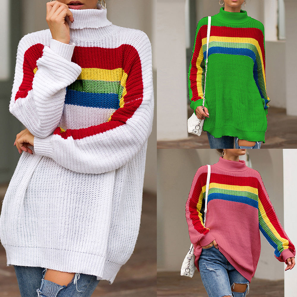 Color Turtleneck Loose Sweaters Women Winter 2020 Jumpers Knitted Clothes Fashion Striped Oversized Pullover Female Sale