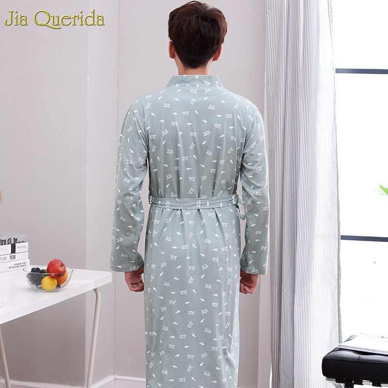 Мужское кимоно халат серый пижама 100% хлопок вязаный v-образный вырез с принтом рыбы кардиган осень весна с длинными рукавами ночное белье