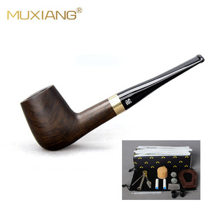 Smoking Set Ebony Wood Handmade Black Smoking Pipe Tobacco 9mm Filter Wooden Pipes