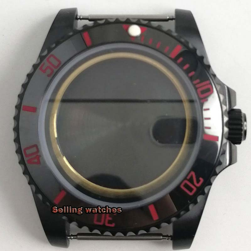 Relógio dos Homens Mais Novo Quente Inoxidável Preto Pvd Case Endurecido Mineral Safira Vidro Caber 2824 2836 Miyota 82 Movimento 40mm Aço