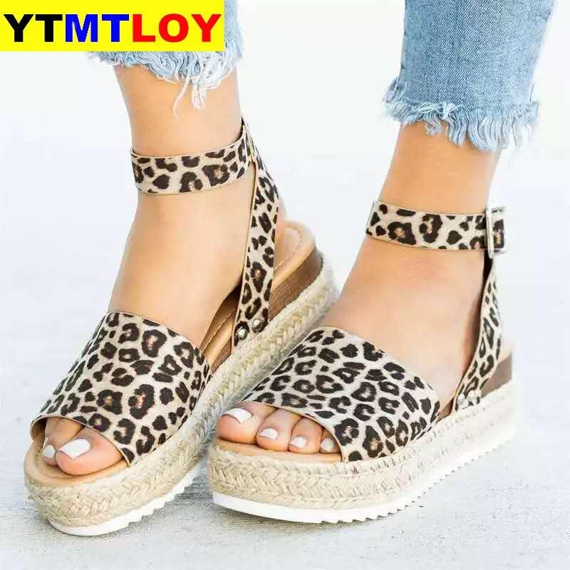 Women Sandals Soft Leather Wedges Shoes Women Espadrilles Platform Sandals Female 4cm High Heels Sandals Summer Chaussures Femme