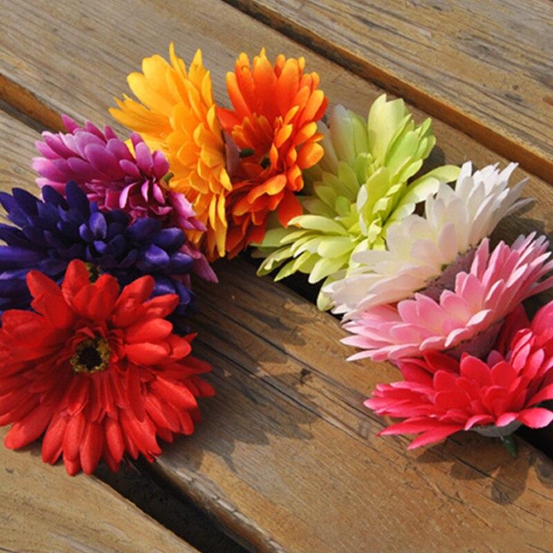 웨딩 크리스마스 장식에 대 한 10cm 인공 달리아 국화 머리 diy 꽃 벽 선물 상자 공예 가짜 꽃 실내
