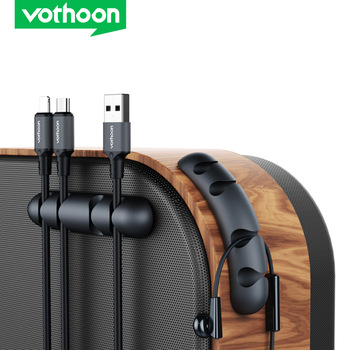 Vothoon Cable Organizer Silicone USB Cable Winder Desktop Car Management Clips Cable Holder For Headphone Mouse Wire Organizer 1