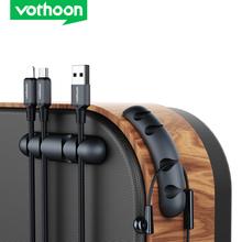 Vothoon nowy kabel organizator silikonowy Organizer do zwijania kabla USB elastyczny kabel do zarządzania kabel z zaciskami uchwyt do myszy słuchawki słuchawki tanie tanio CN (pochodzenie) oblong 81mm*19mm*12mm 41000331 Vothoon Cable Organizer Clips Black Wire Storage Charger Cable Desk Organizer