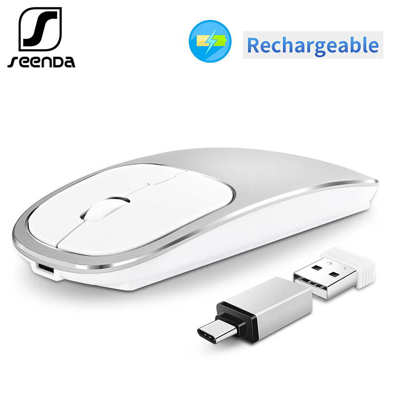 SeenDa Metal Wireless Mouse Rechargeable Silent Click Mouse USB Type-C Mouse For Mackbook Notebook Laptop PC Ergonomic Mice