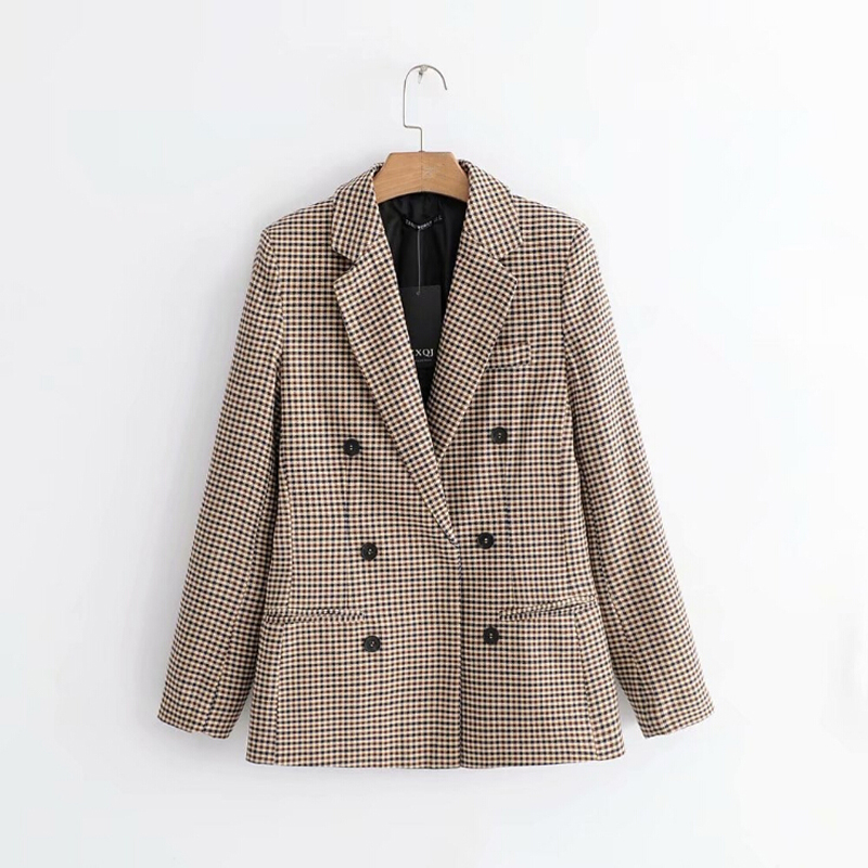 2020 Women Warm Winter Check Double Breasted Blazer Jacket Office Ladies Vintage Plaid Blazer Pockets Work Wear Outwear New Hot