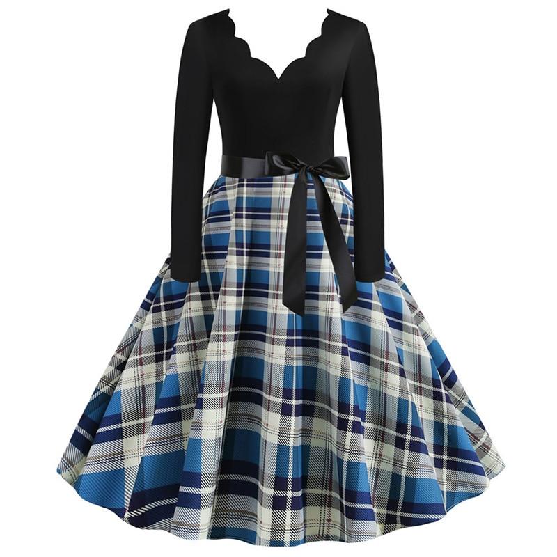 Women Long Sleeve Winter Vintage Dresses Sexy Black Music Note Print V-neck Rockabilly Pin up Party Dress Vestidos Plus size 527