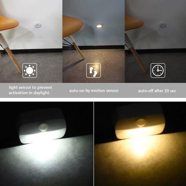 2020 novo led sensor de movimento luz operado por bateria sem fio lâmpada de parede luz da noite nenhum brilho armário do corredor conduziu a luz da porta do armário