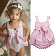 Meihuida, популярный сексуальный топ, розовый бант на боди для маленьких девочек, комбинезон, летняя одежда, купальный костюм, Пляжное Платье