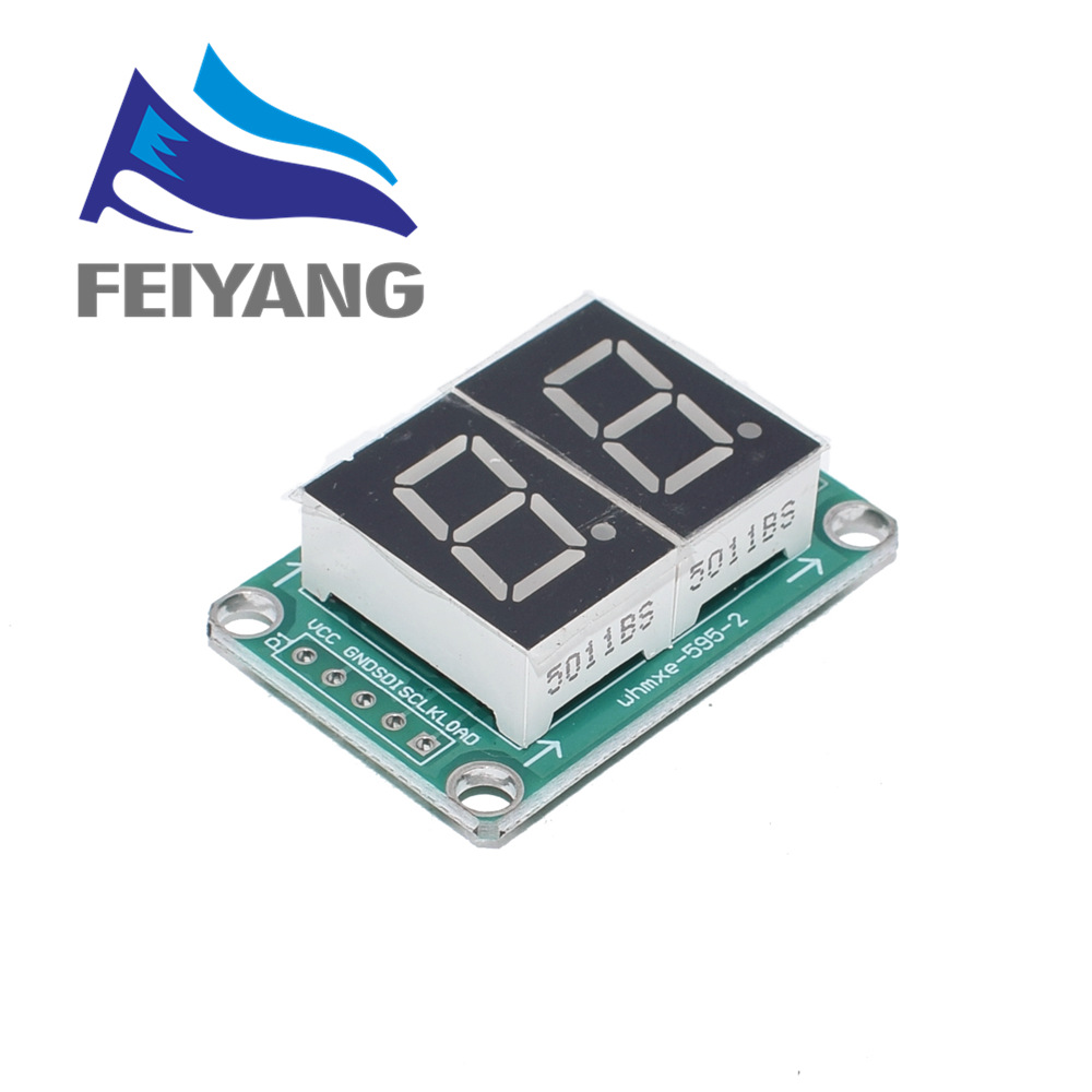 "74HC595 Cascade Static Drive 2 Digit Segment 0.5/"" Bright Red Tube Display Module"