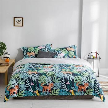 2019 Forest Tiger Leopard Leaves Duvet Cover Set Flat Fitted Sheet Cotton Bedlinens Hypoallergenic Twin Queen King Bedlinens