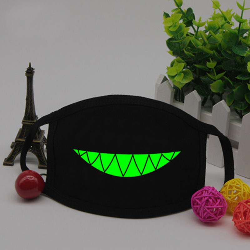 Halloween Punk Fangs Funny Teeth Pattern Soft Breathable Cotton Fluorescent Green Luminous Mask Winter Unisex Mouth-muffle