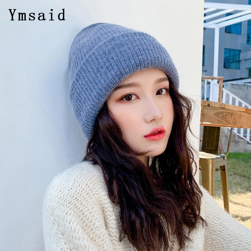 Ymsaid Women Winter Hats Beanies Knitted Hat Rabbit Wool Fur Hat Female Skullies Warm Gravity Falls Caps Gorros Simple Hat