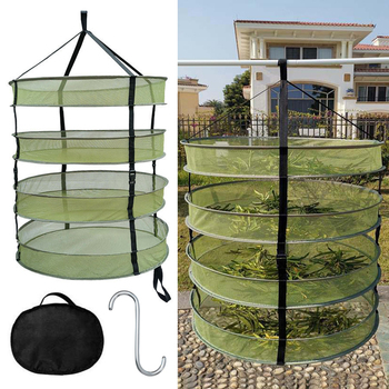 Four-layer Hanging Herb Dry Basket Foldable Mesh Hydroponic Drying Net For Herbs Flowers Buds Plants