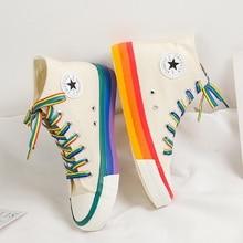 SWYIVY/повседневная обувь с радужной подошвой; Женские высокие кроссовки; Cavans 2020; Весенняя женская повседневная обувь; Белые парусиновые кроссовки; Oman