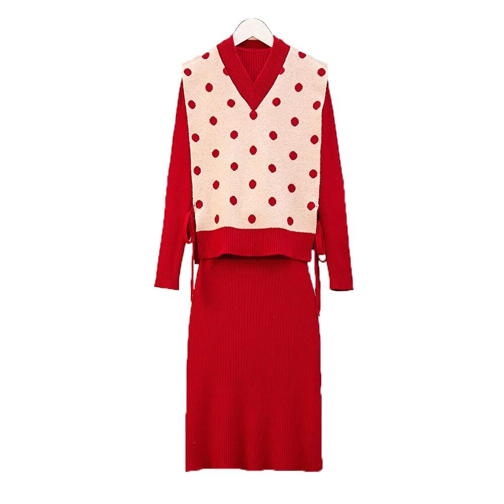 Red Knitted 2 Piece Sets Outfits Women Dot V-neck Vest + Long Sleeve Slim Dress With Belt Suits Elegant Fashion Korean Sets 2019 38