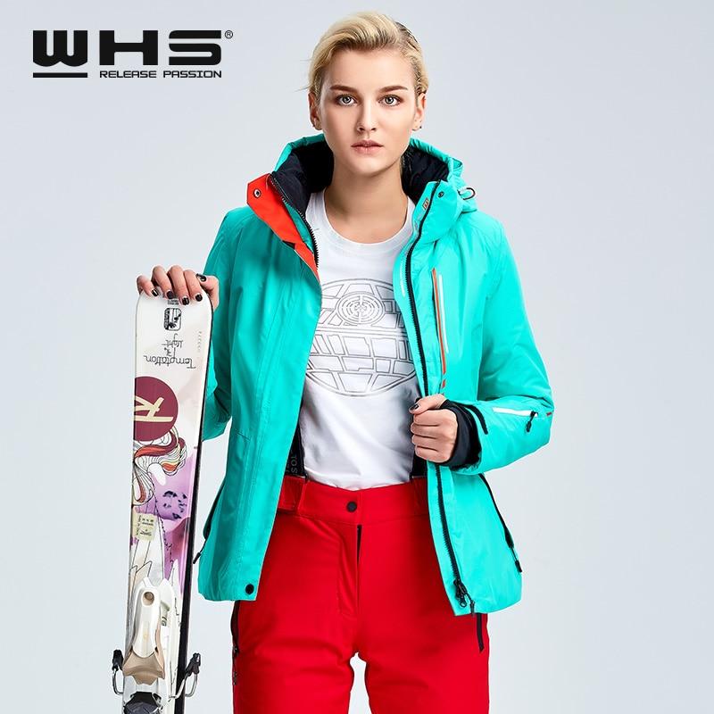 WHS veste de ski pour femmes veste thermique de sports de plein air d'hiver imperméable, coupe-vent et respirant veste en coton - 5