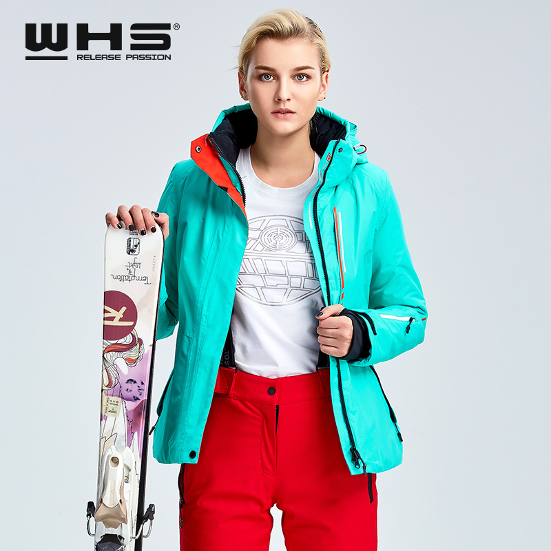 WHS women 39 s ski jacket winter outdoor sports thermal jacket waterproof wind proof and breathable cotton jacket in Skiing Jackets from Sports amp Entertainment