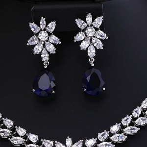 Image 5 - COlOR BEST QUALITY BRILLIANT CRYSTAL ZIRCON EARRINGS AND NECKLACE JEWELRY SET WEDDING DRESS ACCESSARIES