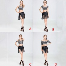 Women Latin Tassel Dress Rumba Dancewear Sequin Fringe Custom Dance Skirts 233-139