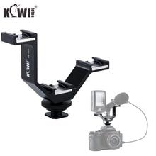 KIWI Triple Cold Shoe V Bracket Holder for Canon Nikon Sony Fujifilm Olympus Camera Microphone LED Light Flash Remote Receiver