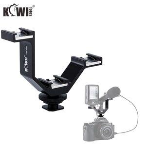 Image 1 - KIWI Triple Cold Shoe V Bracket Holder for Canon Nikon Sony Fujifilm Olympus Camera Microphone LED Light Flash Remote Receiver