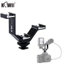 Тройной держатель для холодного башмака KIWI с V образным кронштейном для камеры Canon Nikon Sony Fujifilm Olympus Микрофон светодиодная вспышка дистанционный приемник