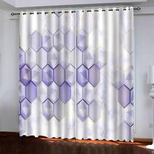 цена на purple geometric 3d curtain Customized 3d curtains new window balcony thickened windshield blackout curtains