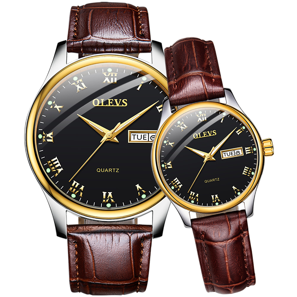 OLEVS Couple Watch Breathable leather Band Fashion Waterproof His and Her Quartz Wristwatch Set for Lovers One Pair
