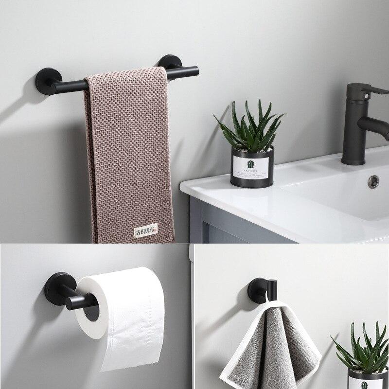 Tuqiu Black Towel Hanger, Paper Holder,Towel Bar,Robe Hook Bathroom Hardware Set 304 Stainless Steel Bathroom Accessories
