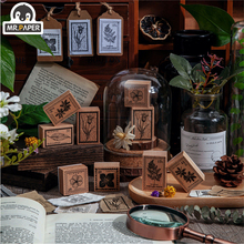 Mr.Paper 6 Designs Jungle Postage & Plant Series Plant Style Creative Simple Hand Account Decor DIY Material Single Wooden Stamp