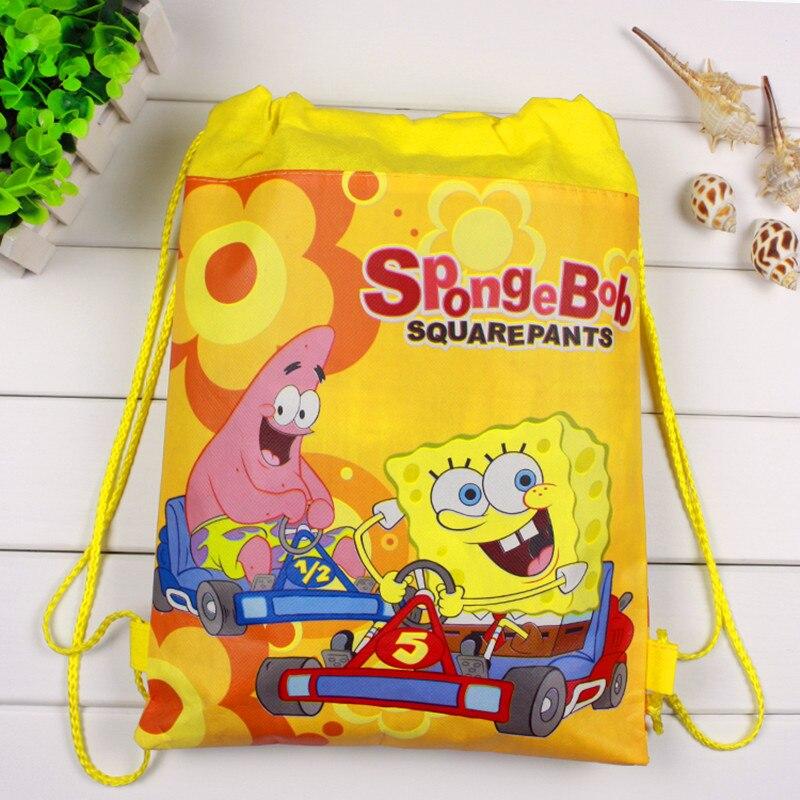 16/24/50PCS High Quality Sponge Theme Bob Non-Woven Fabrics Drawstring Backpack For Kids Birthday Party Favor Gift Bags 36*28CM
