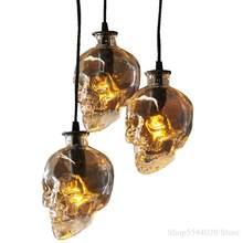 Lampe suspendue industrielle avec crâne en verre, design rétro, éclairage d'intérieur, Luminaire décoratif d'intérieur, idéal pour un Bar, un café ou une salle à manger