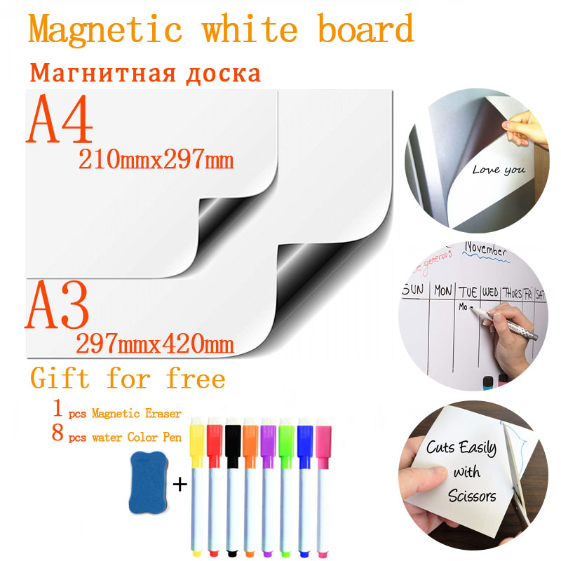 Soft Fridge Stickers Size A4+A3 Magnetic Whiteboard For Kids Dry Eraser School Memo Presentation Writing Drawing White Board