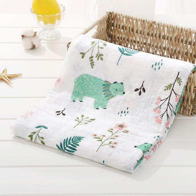 1 шт., муслин, хлопок, детские пеленки, мягкие одеяла для новорожденных, для ванной, марля, Детская накидка, спальный мешок, чехол для коляски, игровой коврик - Цвет: Bear