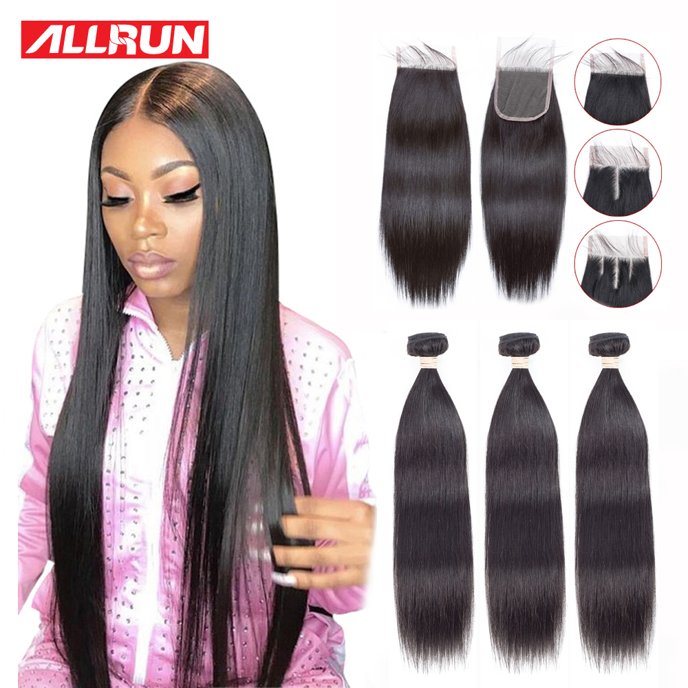 Allrun Straight Human Hair Bundles With Closure 3 Bundles With Closure Brazilian Hair Weave Bundles 4x4/5x5/6x6 Closure Non Remy