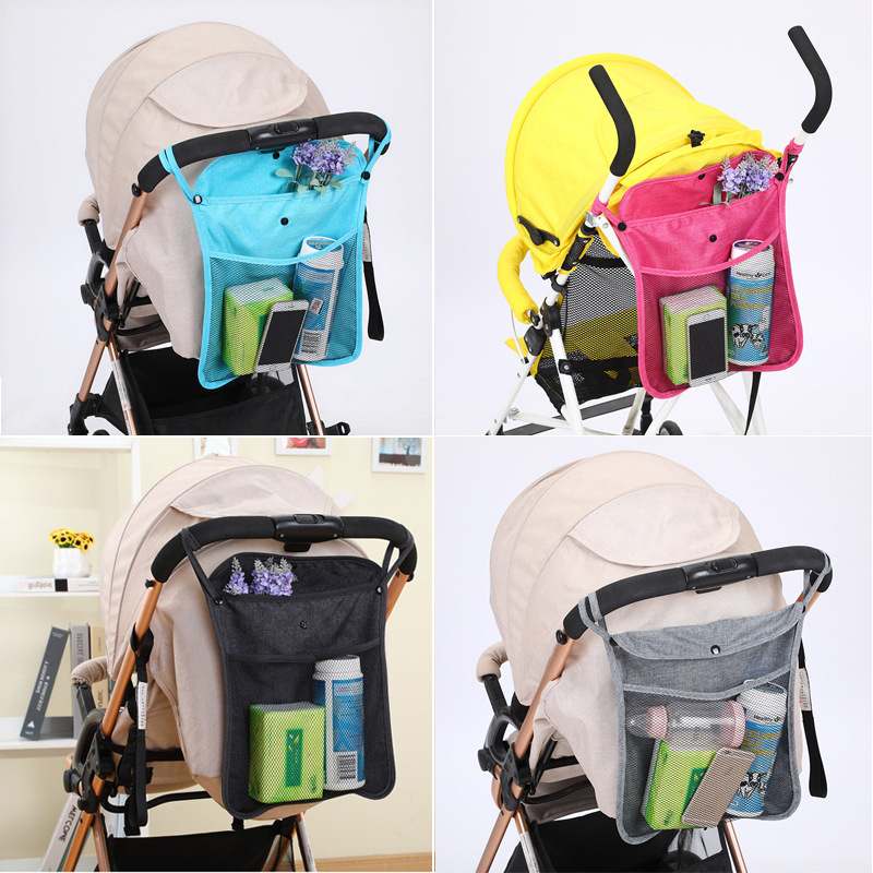 Baby Stroller Hanging Bags Net Storage Bag Secure Mesh Bags Stroller Accessories Multifunctional Stroller Hanging Bag For Baby