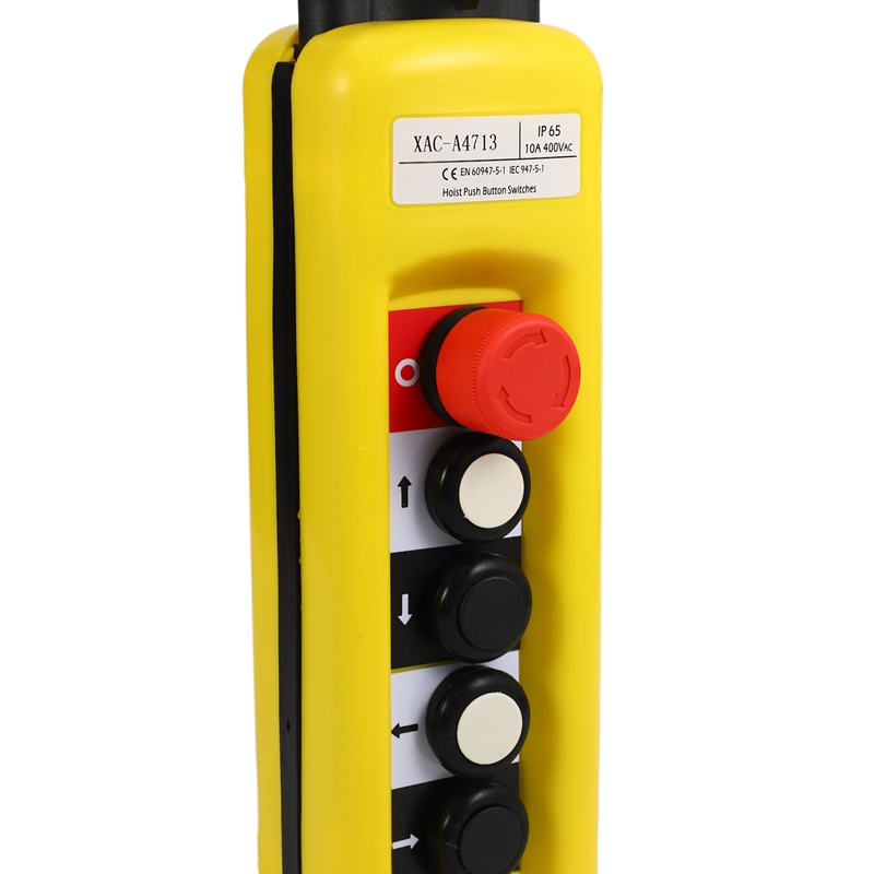 Hot XAC-A4713 Electric Hoist Lifting Button Control Switch, 4 Button Single Speed With Emergency Stop