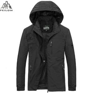 Image 4 - PEILOW yeni artı boyutu M ~ 6XL İlkbahar sonbahar erkek rahat askeri Hoodie ceket erkekler su geçirmez giysiler erkek rüzgarlık ceket erkek