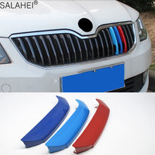 Pour SKODA OCTAVIA Rapid Spaceback nouveau ABS 3 couleurs avant gril garniture milieu maille bande réseau voiture décoration autocollants accessoires