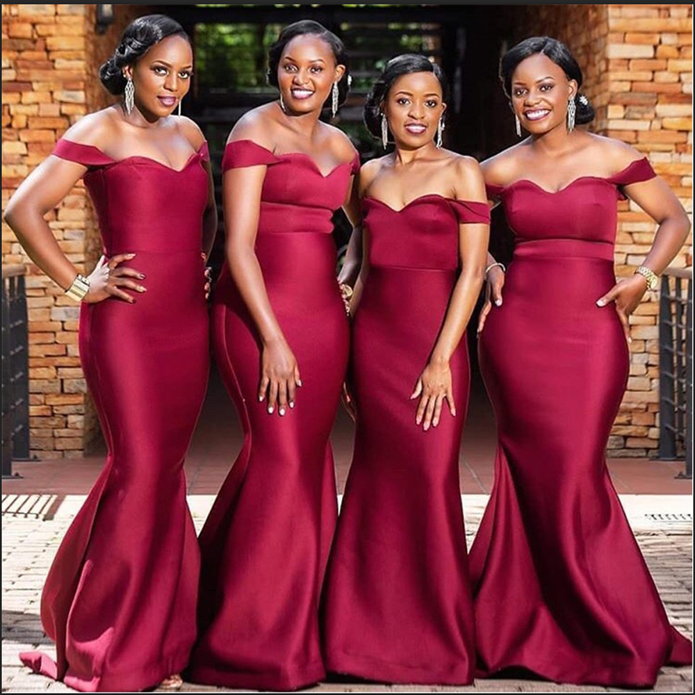 African Dark Red Mermaid Bridesmaid Dresses Long Off Shoulder Wedding Guest Dress Satin Cheap Party Gowns