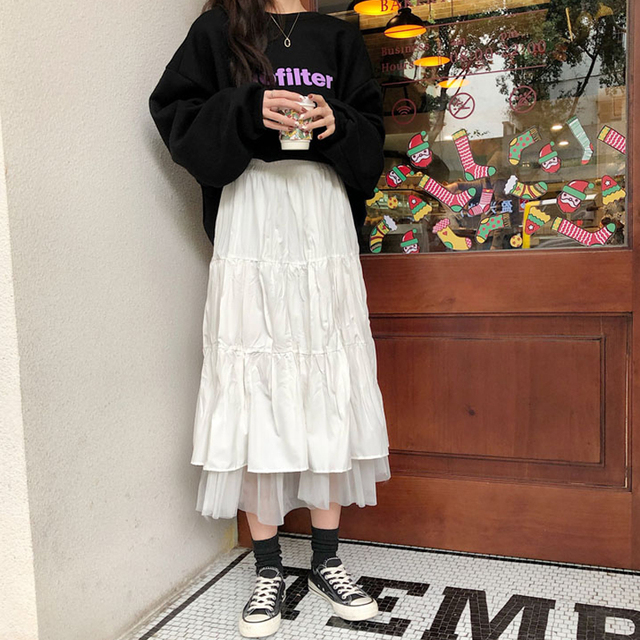 Long Skirt With Lace Ruffles  2