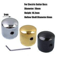 3 Pcs Metal Dome Tone Volume Botões de Controle para Bass Guitar Com Hexa-parafuso de Bloqueio Estilo-Cromo- preto-Ouro Para Escolher