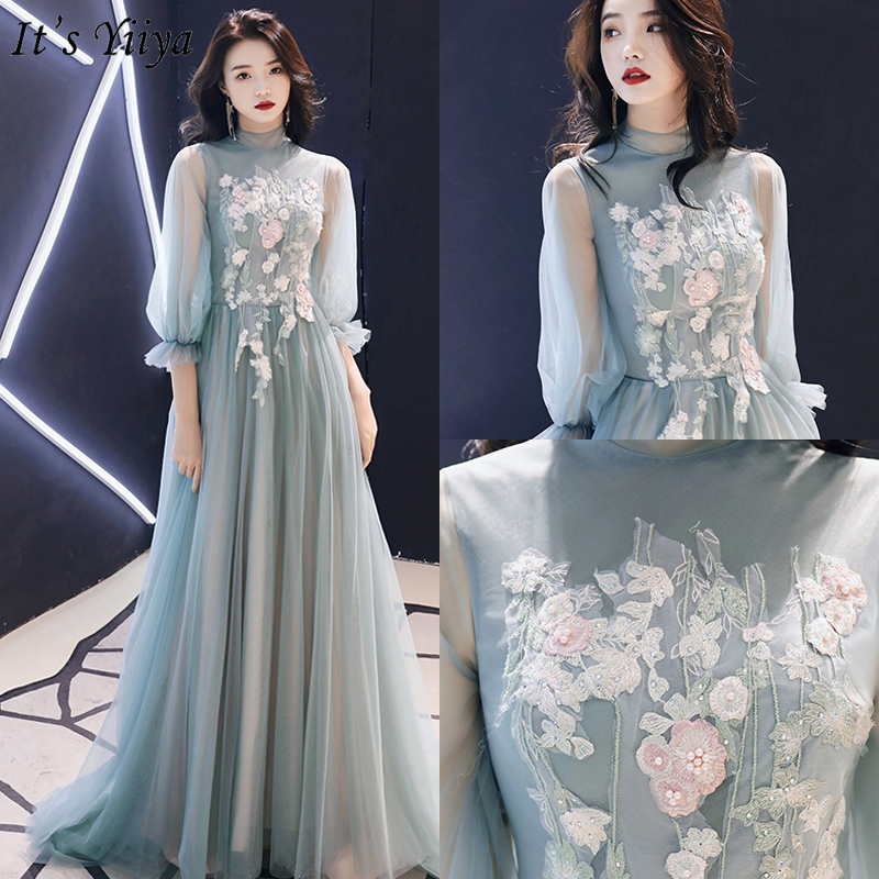 It's Yiiya Evening Dress Elegant Appliques Evening Dresses Long Lace Green Formal Gowns 2020 Plus Size Robe De Soiree LF160