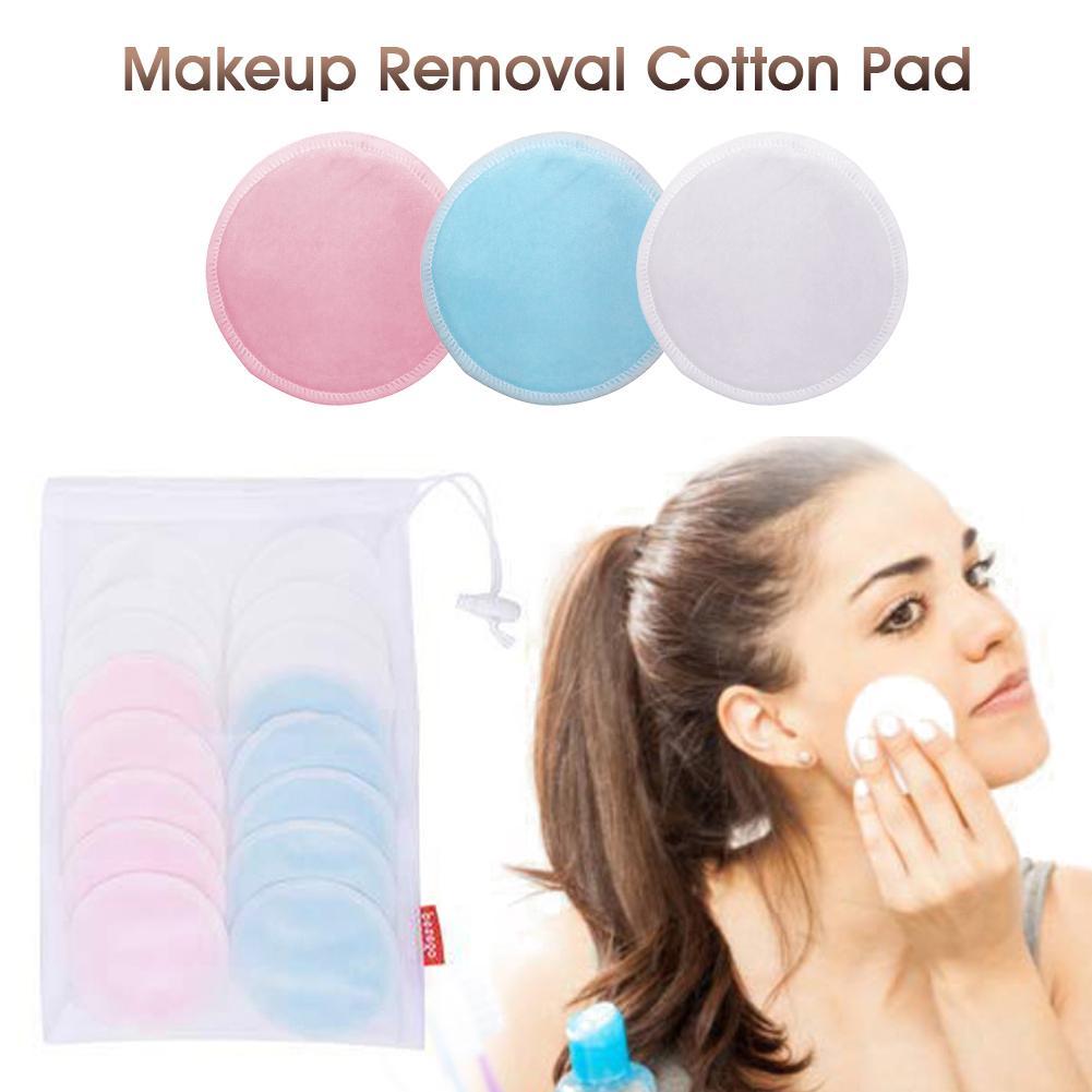 16Pcs Makeup Removal Cotton Pad Bamboo Fiber Reusable Rounds Pads for Face Eye