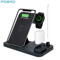 FDGAO 10W Qi Wireless Charger Stand For iPhone XS XR X 8 AirPods Apple Watch 5 4 3 Fast Charging Dock Station For iWatch Series|Wireless Chargers| |  -