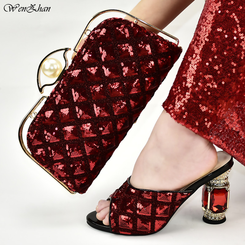 Red Italian Fashion Shoes With Matching Bags Latest Sequins African Wedding Women Shoes And Bags Set 37-42 WENZHAN D99-20