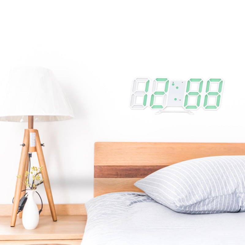 3D LED Digital Clock Bedroom Desk Alarm Clock Wall Clock Calendar Thermometer Dimmable Night Light Home Decoration image