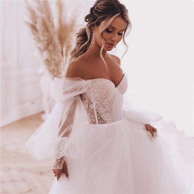 Fairy Boho Wedding Dresses Detachable Long Puff Sleeve Bride Dress Vintage Lace Beach Wedding Gowns Plus Size Corset Back Sweet 1